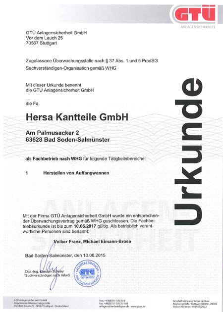 GTÜ-Urkunde 2015